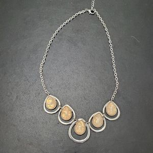 Silver tone necklace with peach faux stones